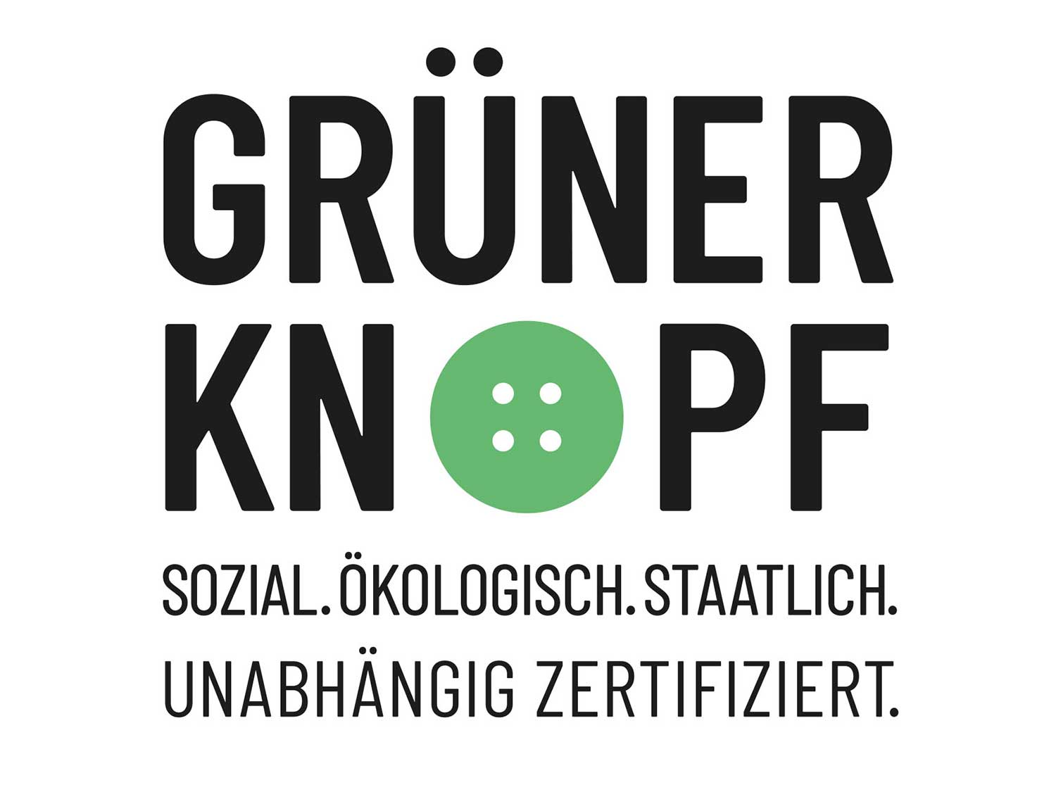 """Certification seal of the """"Grüne Knopf""""   mey®"""