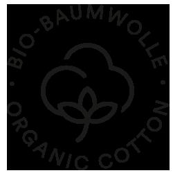 Icon für Bio-Baumwolle, Baumwollblüte mit Stil und drei Blättern | mey®