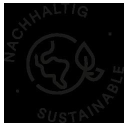 Icon für Nachhaltigkeit, Weltkugel mit zwei Blättern an der Seite | mey®