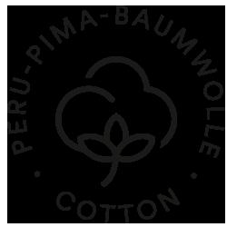 Icon für Peru-Pima Baumwolle, Baumwollblüte mit Stil und drei Blättern | mey®