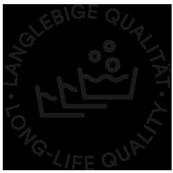 Icon für langlebige Qualität, drei Waschzuber mit Blubberblasen | mey®