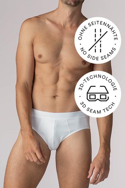 mey® Serie Business Class, weiße Jazz-Pants am Model, mey® Icon für keine Seitennähte, zwei Nähte sind durchgestrichen, mey® Icon für 3D-Technologie, 3D Brille