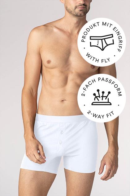 mey® Serie Business Class, weiße Trunk-Shorts am Model, mey® Icon für Eingriff, Slip mit eingezeichnetem Eingriff, mey® Icon für Zweifachpassform, Nadelkissen mit vier Stecknadeln