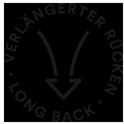 Mey® Icon für verlängerten Rücken, Pfeil der oben breiter ist als unten und nach unten zeigt