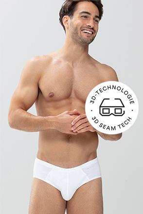 mey® Serie Casual Cotton, weißer Mini-Slip am Model, mey® Icon für 3D-Technologie, 3D Brille