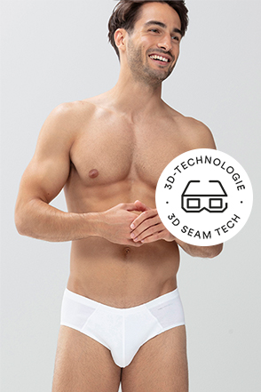 Mey® Serie Casual Cotton, weißer Mini-Slip am Model, Icon 3D-Technologie mit 3D-Brille