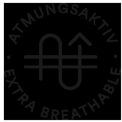 Mey® Icon für Atmungsaktiv, zwei waagrechte Striche mit einem wellenförmigen Pfeil durchwebt