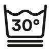 Symbol, waschbar bis 30 °C im Spezial-Schonwaschgang für besonders feine Stoffe und Wolle