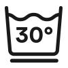 Symbol, waschbar bis 30 °C im Schonwaschgang
