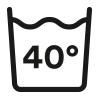 Waschsymbol, Fein-/Buntwäsche waschbar bis 40° Celsius