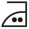 Symbol, Bügeln bis maximal 150° Celsius für empfindlichere Materialien
