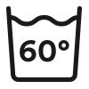 Waschsymbol, Hygienewäsche waschbar bis 60° Celsius