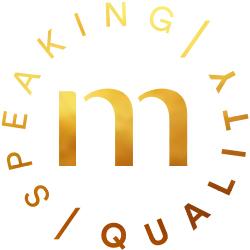 """mey® Icon Speaking Quality, goldenes Signet mit dem mey """"m"""""""
