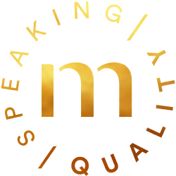 """Golden Speaking Quality icon with the mey """"m"""" in the middle for the highest-quality series 