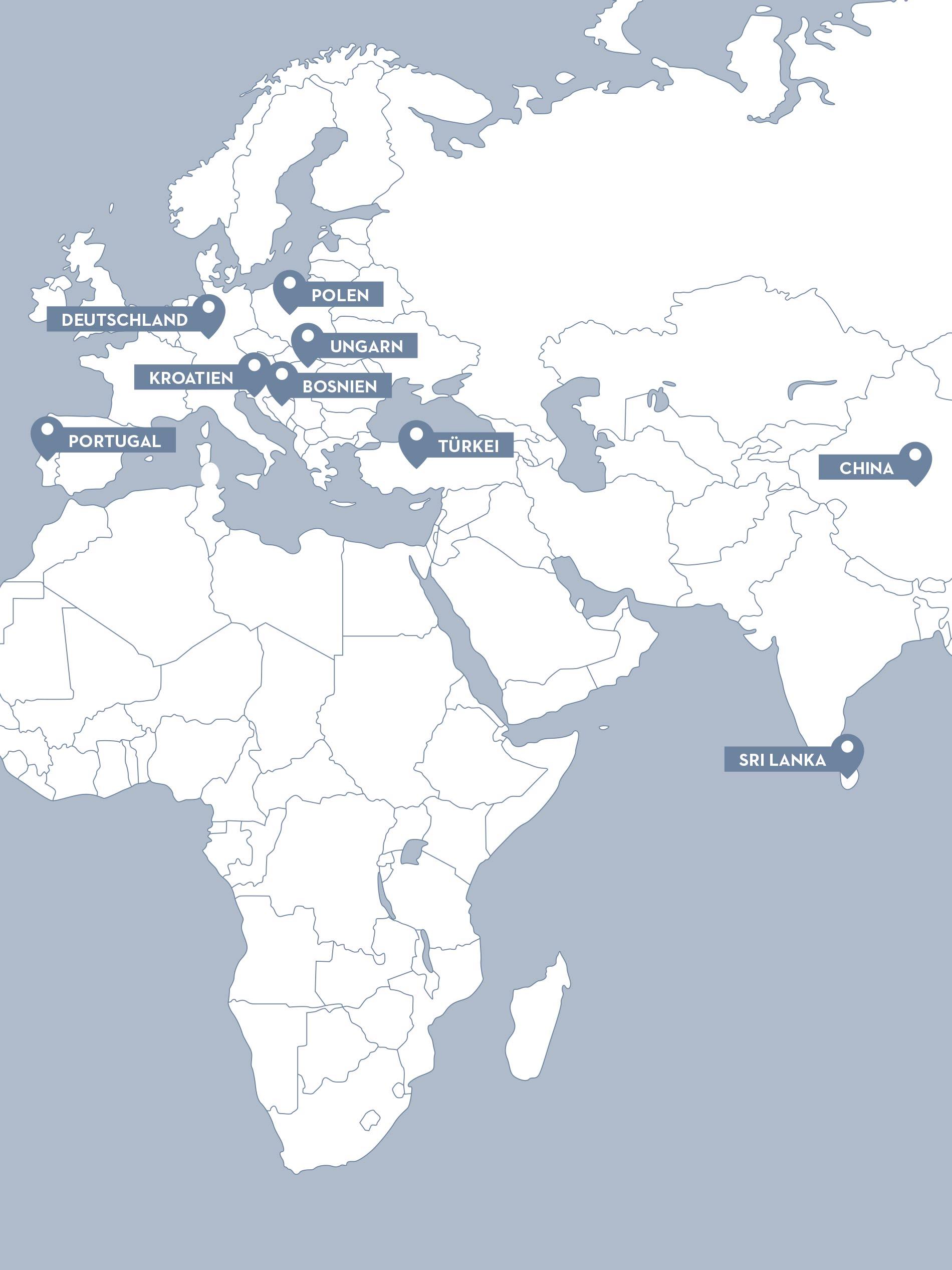 Karte mit den eigenen und externen Produktionsstandorten von mey | mey®