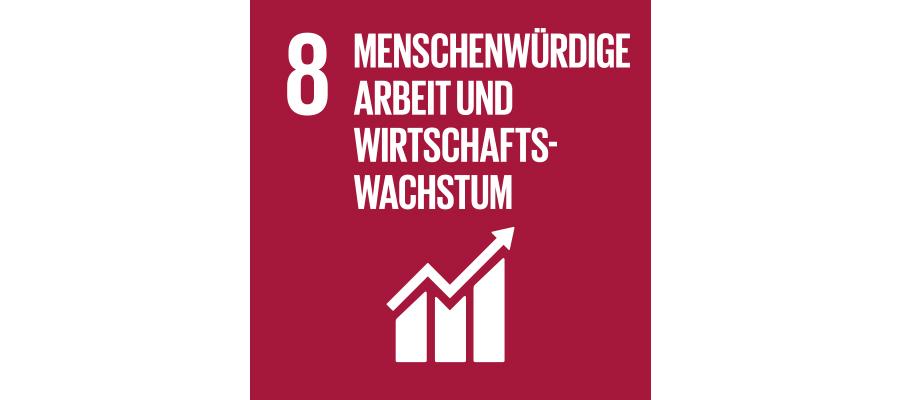 Icon SDG Nr. 8 menschenwürdige Arbeit und Wirtschaftswachstum | mey®