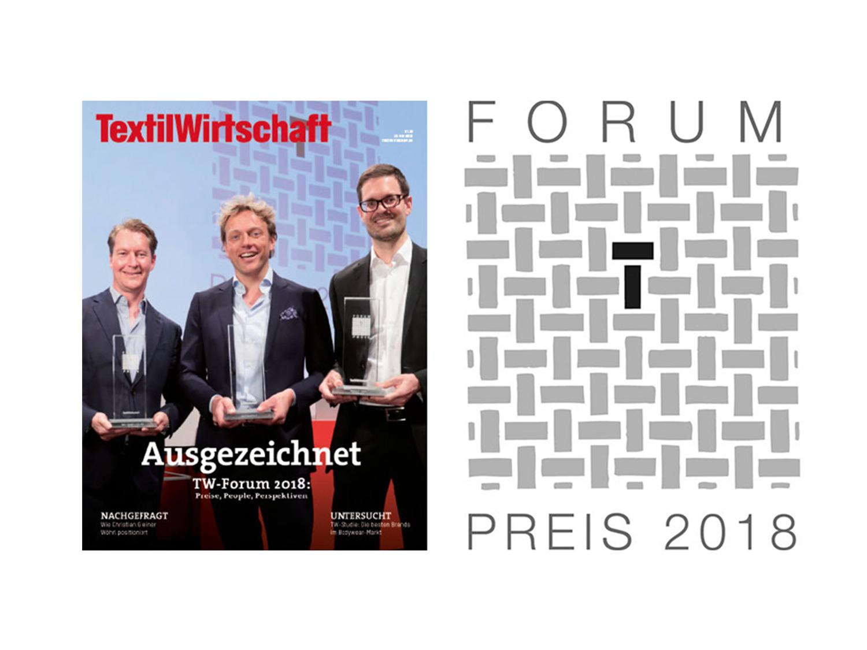 Cover des Magazins Textilwirtschaft und Siegel für die Auszeichnung mit dem Forum-Preis 2018 für mey®