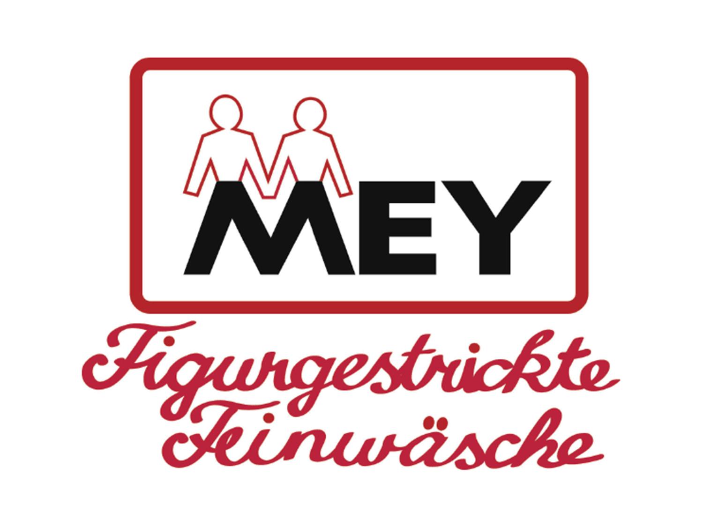"""mey® altes Firmenlogo für """"MEY Figurgestrickte Feinwäsche"""", der Buchstabe M formt zwei Menschen"""