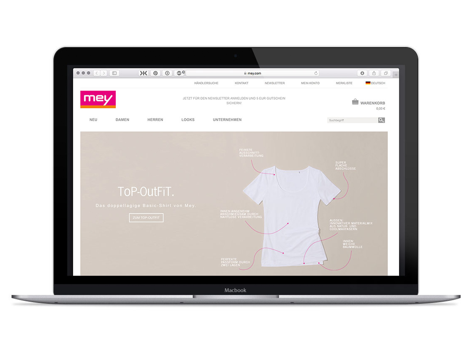 online shop, presented on a laptop with the home page open | mey®