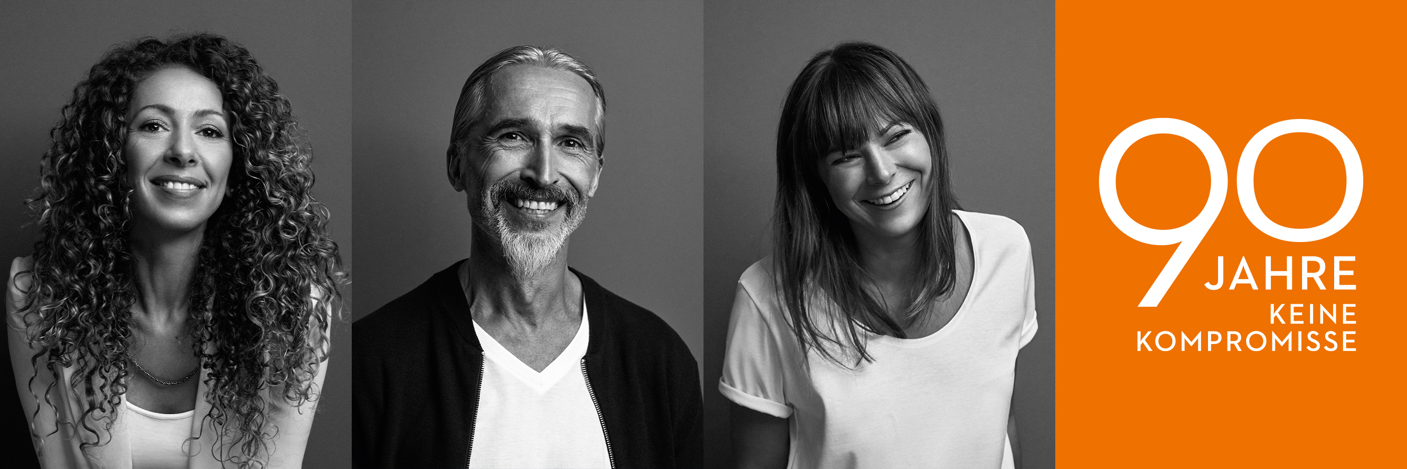 mey® Mitarbeiter Portraits von Daniela Sinatra-Marzio, Thomas Rückauf und Anne Herrmann sowie dem Logo zum 90-jährigen Jubiläum von mey.