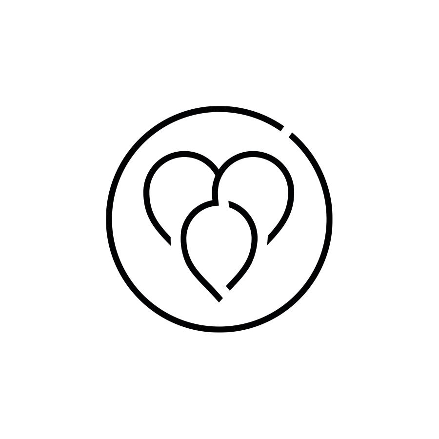 mey® Icon Leitbild Familienkultur, drei Pinnnadeln formen ein Herz
