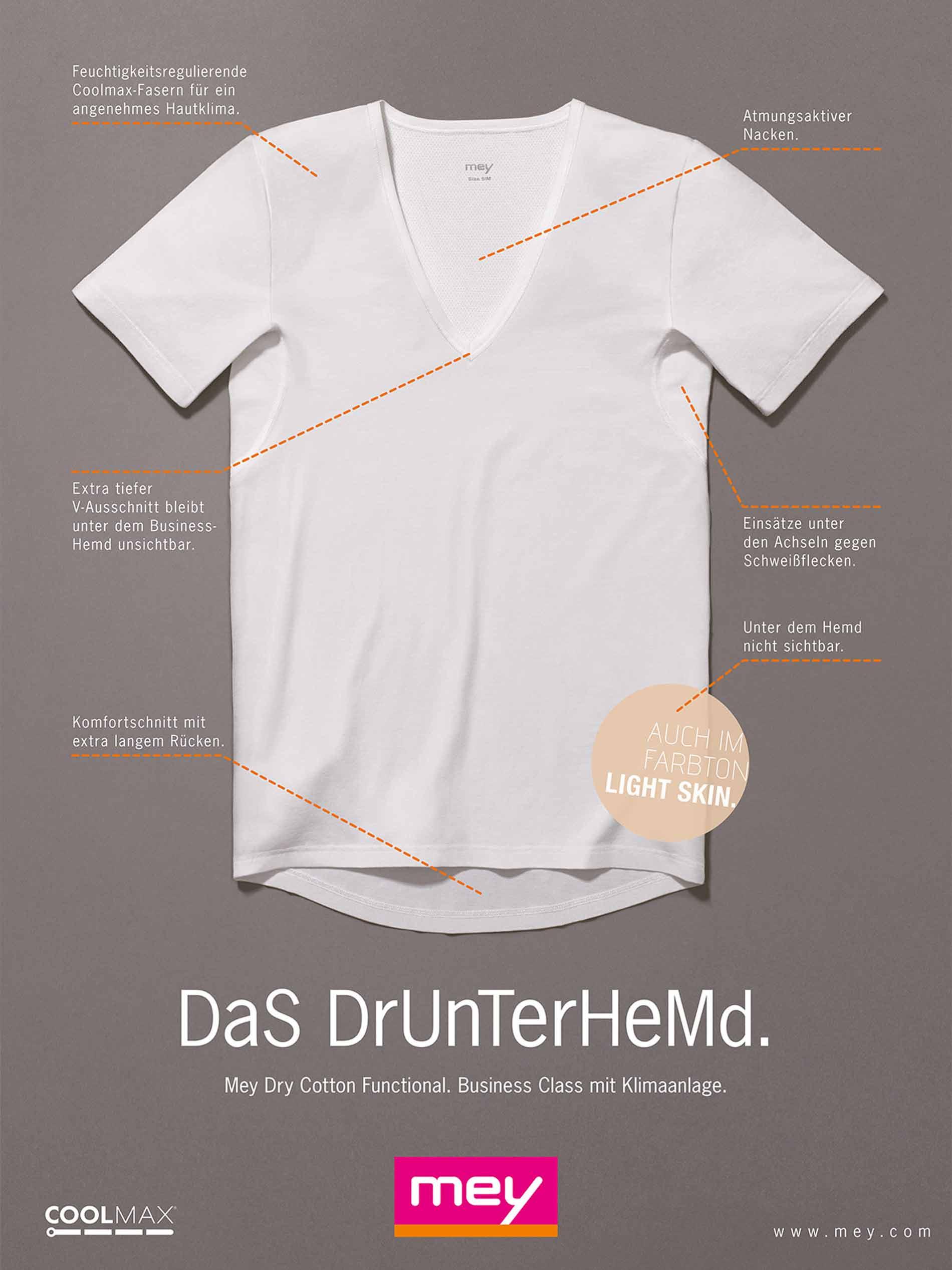 mey® Anzeige für das Drunterhemd: Innovation für den Business-Mann, keine Schweißflecken und keine Geruchsbildung unter dem Hemd, Darstellung des Unterhemds mit Vorteilen