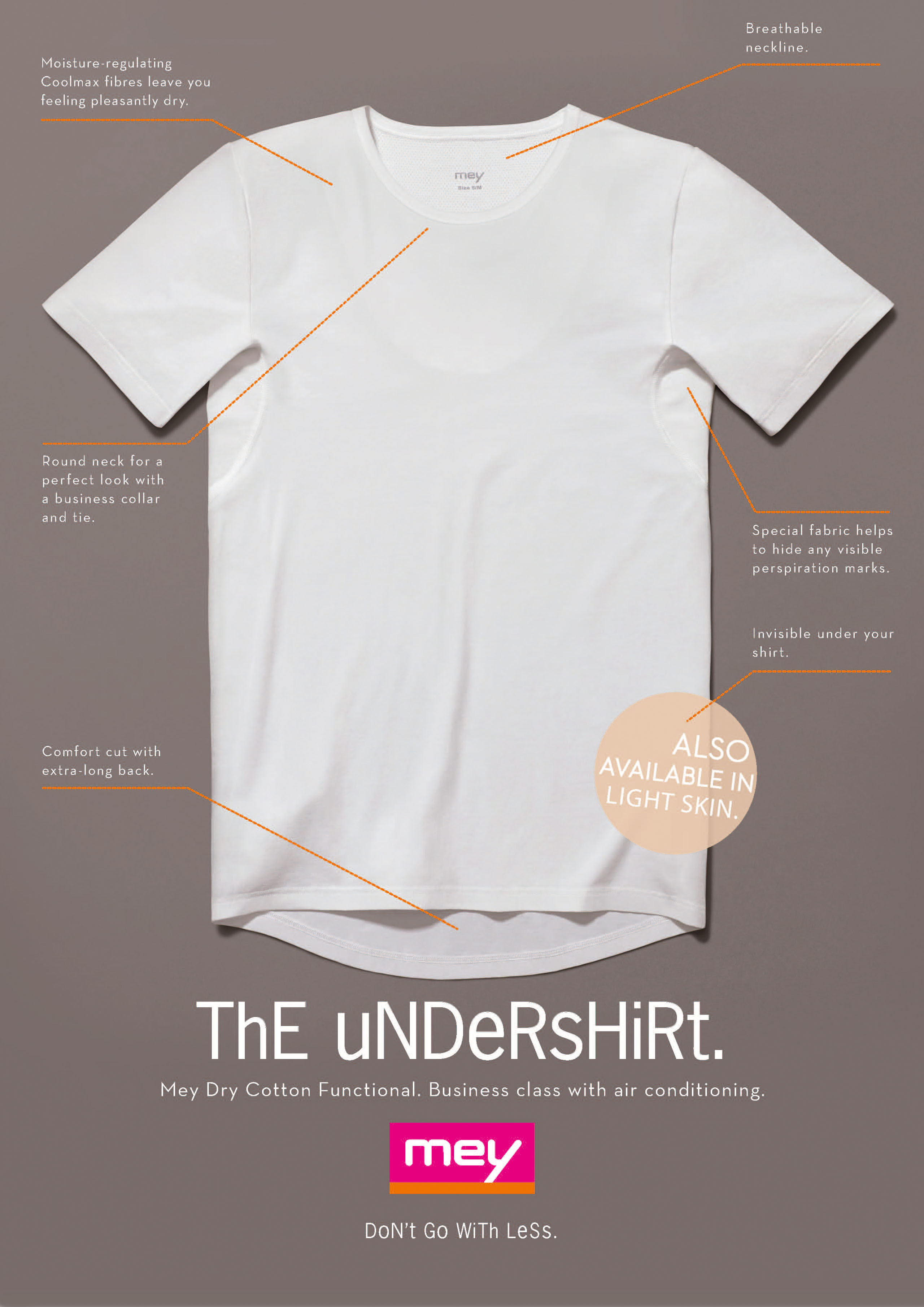 advertisement for the Undershirt: an innovation for businessmen, no sweat patches or odour under the shirt, presentation of the shirt with benefits | mey®