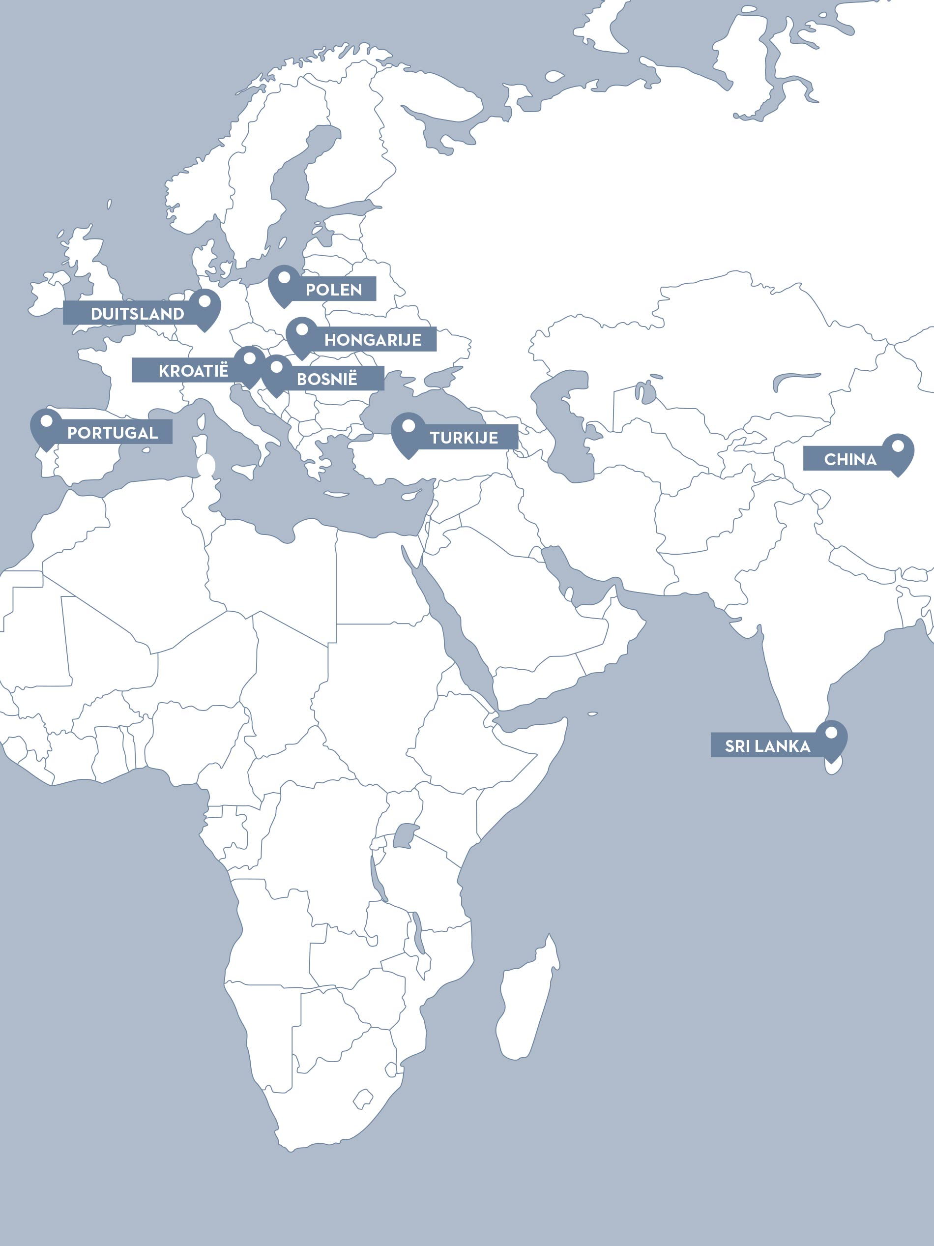 Kaart met de eigen en externe productieplaatsen van mey | mey®