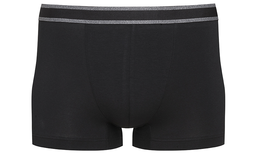 Shorties in black from the RE:THINK series with a grey striped waistband | mey®