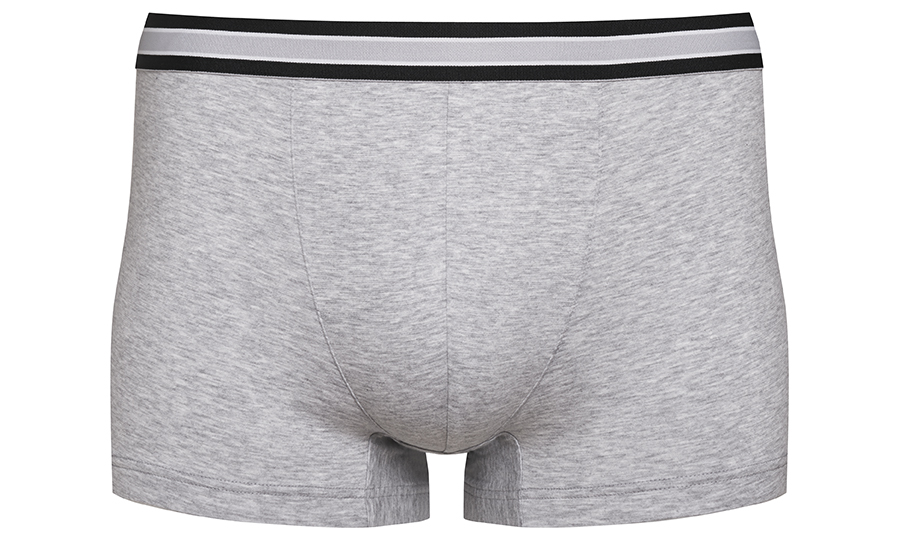 Shorties in grey melange from the RE:THINK series with a black striped waistband | mey®