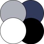 mey® Serie Casual Cotton, runde Farbflächen in Weiß, Schwarz, Yachtblue und Grau Melange